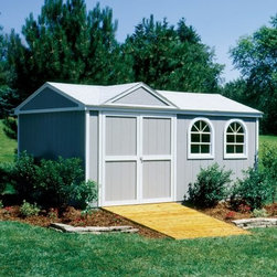 Handy Home Somerset Storage Shed - 10 x 14 ft. - Once you've helped your snow-blower and gardening supplies move into the Handy Home Somerset Storage Shed - 10 x 14 ft., it would only be right if they brought you a casserole, but I wouldn't hold my breath. You'll have all the space you need for your outdoor supplies and off-road vehicles inside the solid wood body of this versatile storage structure. Each wall is 6-feet high with a central peak of 8.9 feet for your taller storage needs. The exterior has been pre-primed at the factory and is ready for you to hit it with the paint of your choosing, and the inside can be purchased with or without a floor as you see fit. You can decide which of the exterior walls you'd like the pre-hung double doors to be installed, and all the necessary hardware and detailed instructions to do the job are included. Doors make an opening measuring 64W x 72H inches. About Handy HomeSince 1978, Handy Home has been making it easy and affordable for their customers to add storage sheds, gazebos and playhouses to their homes. As North America's largest producer of wooden storage and recreational building kits, Handy Home makes durable structures that require no sawing or drilling and can be delivered when and where their customers need them.