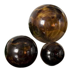 "Uttermost Kameko Glass Spheres, Set/3 - Tortoise glass. These decorative spheres are made of transparent tortoise glass. Sizes: sm-3"", med-4"", lg-5"""