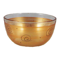 """Gold Curl 6"""" Bowl - This is a 6"""" bowl which is hand painted is a beautiful gold and adorned with curls and dots.  Perfect for the holidays or any season.  Something to be handed down from generation to generation. Proudly hand painted in the USA."""