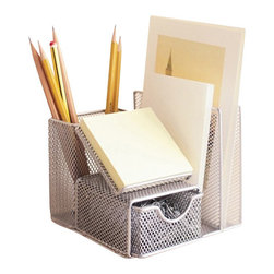 Design Ideas - Desk Office Manager - Silver - Your desk will become an organization station with our silver mesh Office Manager desk organizer.