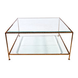 SOLD OUT! Gold Square Cocktail Table - $1,995 Est. Retail - $600 on Chairish.com -