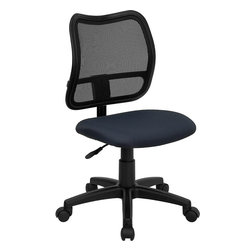 Flash Furniture - Flash Furniture Mid-Back Mesh Task Chair with Navy Blue Fabric Seat - If you're in need of a comfortable chair with a breathable mesh back this is the chair. The modern design of the back will add a contemporary look to your office space. This chair is height adjustable to adapt to your working environment. [WL-A277-NVY-GG]