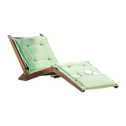 Great Deal Furniture - Midori Mahogany Wood Folding Chaise Lounger Chair w/ Green Striped Cushion - The Midori Mahogany Wood Folding Lounge Chair makes the perfect lawn or poolside addition. Relax in style with this wooden chaise that folds for easy storage and comes complete with a full length cushion to maximize comfort. This the Midori chaise lounger will have you entertaining and enjoying all that the outdoors have to offer.