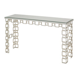 Currey & Company - Euclid Console Table - Named for the Greek mathematician, often referred to as the Father of Geometry, the Eulcid Console Table is a geometrically inspired and functional artpiece. Antique Mirrors make up the surface of the table while Contemporary Silver Leaf finished wrought iron legs provide a sturdy base.