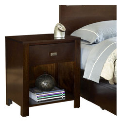 Modus Furniture - Modus Furniture Riva One Drawer Nightstand in Chocolate Brown - Modus Furniture - Nightstands - RV2681 - Crafted from Tropical Mahogany solids and a variety of beautiful veneers, the Nevis collection features solid wood drawer boxes with English dovetail joints on both front and back, full extension ball bearing drawer glides, and are corner blocked to ensure rigidity, making them as functional as they are sleek. The wide variety of pieces are enhanced by an elaborate American finishing process in either a rich Spice, a deep, dark Espresso, or Chocolate Brown. All are complimented by brushed chrome hardware. Together with a vast array of contemporary platform, low profile and sleigh bed styles, the Nevis collection blends the sleek and exotic with the functional.