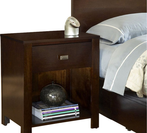 Modus Furniture - Modus Furniture Riva One Drawer Nightstand in Chocolate Brown - Modus Furniture - Nightstands - RV2681 - Crafted from Tropical Mahogany solids and a variety of beautiful veneers the Nevis collection features solid wood drawer boxes with English dovetail joints on both front and back full extension ball bearing drawer glides and are corner blocked to ensure rigidity making them as functional as they are sleek.   The wide variety of pieces are enhanced by an elaborate American finishing process in either a rich Spice a deep dark Espresso or Chocolate Brown. All are complimented by brushed chrome hardware.   Together with a vast array of contemporary platform low profile and sleigh bed styles the Nevis collection blends the sleek and exotic with the functional.