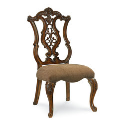 Pemberleigh Pierced Back Side Chair, Beautiful Brandy - Extraordinary woodworking is highlighted in this stunning pierced-back upholstered side chair. The epitome of antique style and luxury, this arm chair features exceptional attention to detail throughout the piece. Finished in a lovely warm brandy with burnished edges, this most striking feature of this chair is the pierced-back design. It's the ideal seat for dinner parties and holiday feasts - everyone will enjoy dining in this beautiful and comfortable side chair.