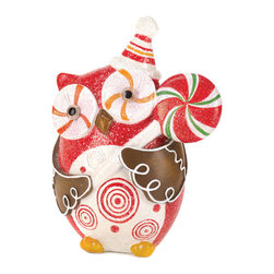 KOOLEKOO - Sugary Sweet Holiday Owl Decor - This owl is a sugary sweet addition to your holiday decor! He holds a bright lollipop in his gingerbread-like wings, and his glittery finish will make your room sparkle.
