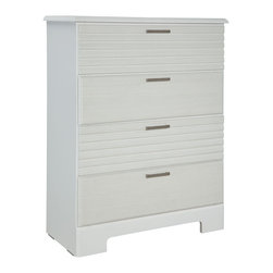 Standard Furniture - Standard Furniture Action 4-Drawer Chest in White - A combination of smooth and textured white surfaces on clean square profiles creates actions distinctive modern look.