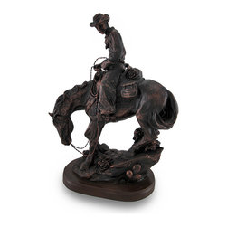 Zeckos - Bronze Finish Western Cowboy On Horse Statue - With all the fascination of fantasy lore, this rider of the Wild West has saddled up to take his rightful place in western folklore. This cold cast resin statue captures every essence of the rugged cowboys, from the conchos on his chaps to his muscular horse. Beautifully rendered in a faux antique bronze finish, this stunning 11 1/8 inch high (28 cm), 7 3/4 inch long (20 cm), 4 1/4 inch wide (11 cm) statue pays tribute to the larger than life characters of the Old West. The bottom is lined with a velvet like material to help protect delicate surfaces from scratches. This statue would make a wonderful gift for any fans of the Old West