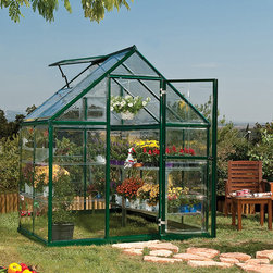 Harmony Green Hobby Greenhouse Kit - The Harmony Green 6' x 4' and 6' x 8' Hobby Greenhouses feature a rust-resistant, aluminum green powder-coated frame and heavy-duty galvanized steel base designed to stand the test of time. Your plants will love the sun light from the clear, polycarbonate panels. Keep your plants happy with the fresh rainwater you collect from the gutters. Start your plants early from seed and extend your season by protecting plants from fall frosts. Get growing today and let the Harmony Greenhouse help you bring your green dreams to life.