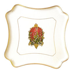 IMPERIAL COURT, INC. - Czarina Square Cake Platter - This magnificent square cake platter is made of finest quality porcelain with 24K gold painting in Limoges, France. Shown decorated with Lilies of The Valley Egg. Other Egg designs are also available. Size: 14 x 14 inches.