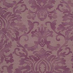 Romosa Wallcoverings - Purple Faux Worn Damask Bliss Wallpaper - - Color: Purple