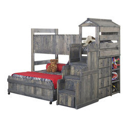 Chelsea Home - 85 in. Twin Over Full Loft Bed - NOTE: ivgStores DOES NOT offer assembly on loft beds or bunk beds.. Includes slat packs and stairway chest with four drawers and three shelves. Mattresses not included. Rustic style. 4 in. lag blots are utilized to assemble parts with a recessed end for safety. Drawers have a center mounted metal kenlin drawer glide system with fronts. Exceed the ASTM standard consumer safety specifications. Can hold up to 400 lbs. of distributed weight. Rounded edges for strong and safe youth furniture with Baltic birch plywood filler panels for a smooth feel and finish. Warranty: One year. Made from solid ponderosa pine wood. Driftwood finish. Made in USA. Assembly required. 85 in. L x 81 in. W x 76 in. H (470 lbs.). Bunk Bed Warning. Please read before purchase.Warning: Falling hazard, bunk beds should be used by children 6 years of age and older!