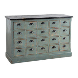Robyn Distressed Dresser - An array of 20 miniature drawers makes this dresser a charming choice for reorganizing the craft room, office, or playroom. The sweet, faded turquoise finish is distressed to perfection and completed with contrasting dark drawer pulls.