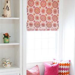 Window Treatments - Family room window seat with Roman sharde, Philadelphia, photographer:  Annie Hosfeld