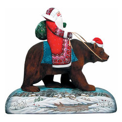 """Grizzly Bear Santa Claus Artistic Wood Carved Sculpture - Measures 11""""H x 12""""L x 5""""W and weighs 3 lbs. G. DeBrekht fine art traditional, vintage style sculpted figures are delightful and imaginative. Each figurine is artistically hand-painted with detailed scenes including classic Christmas art, winter wonderlands and the true meaning of Christmas, nativity art. In the spirit of giving G.DeBrekht holiday decor makes beautiful collectible Christmas and holiday gifts to share with loved ones. Every G. DeBrekht holiday decoration is an original work of art sure to be cherished as a family tradition and treasured by future generations. Some items may have slight variations of the decoration on the decor due to the hand painted nature of the product. Decorating your home for Christmas is a special time for families. With G. DeBrekht holiday home decor and decorations you can choose your style and create a true holiday gallery of art for your family to enjoy."""