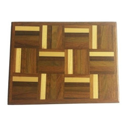 Exotic Chopping Blocks - Serving Tray - This serving tray is lovely in the calm colored woods it includes. This would be an ideal cheese and crackers serving tray or simply a center piece on a table. The colors are neutral enough to match any room, yet alive enough to surprise. Woods in this tray include Yellow Heart, Teak, Seduoa, Verawood, and Canary. It is wrapped with Teak as well. All the woods are their natural colors. There has been no paint or stain added.