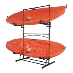 Stoneman Sports Malibu Plus Kayak Storage Rack - The Stoneman Sports Malibu Plus Kayak Storage Rack is an easy to assemble double-sided rack for your canoe or kayak. Fully assembled, the rack weighs 45 lbs. and has a weight capacity of 45 lbs. on top and 65 lbs. on its lower storage level. The high density foam cradles (2 included) may be positioned at any height and the sturdy steel frame is incredibly reliable. Measures 48W x 25D x 79H inches.About Stoneman SportsNot every sporting goods company understands the rugged terrain or the risks that go into the outdoor sports lifestyle. Stoneman Sports gets it! They specialize in developing high-quality product lines that bring innovation and simplicity to the activities you love so well. Cycling, kayaking, even grilling - if it's fun to do outside, Stoneman Sports is streamlining the technology for today's market.