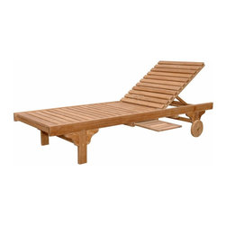 "Anderson Teak - Capri Sun Lounger Adjusted Back & Side Tray - This classic sun lounger is made from teak wood which is very durable and excellent for outdoor furniture. Our most popular piece, the Sun Lounger has been called by some, ""The most comfortable Sun Lounger they have ever relaxed in."" Perfect for poolside reading in the sun. The convenient drawer-type drink trays, an added degree of comfort. When not in use, they conveniently slide back into the Sun Lounger. This Sun Lounger adjusts to four different positions, including completely flat. With its solid teak wheels, it can be easily moved in or out of the sun. Cushion is optional and is being made by order."