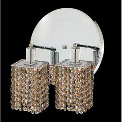 Elegant Lighting - Mini Square Chrome Two-Light Bath Fixture with Royal Cut Golden Teak Smoky Cryst - Royal Cut crystal is a combination of high quality lead free machine cut and machine polished crystals and full-lead machined-cut crystals to meet a desirable showmanship of an authentic crystal light fixture.  -Recommended to be professionally hung and supported independently of the outlet box. Consult an electrician for guidance to determine the correct hanging procedure.  -Crystals may ship separately and some assembly is required.  -Depending on the size & design the assembly can be time consuming, but is well worth the effort. Elegant Lighting - 1282W-R-S-GT/RC