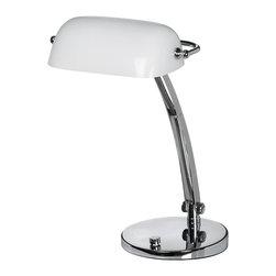 Dainolite - Bankers Lamp Desk Lamp, Gloss White Glass - -Main Body Material: Steel