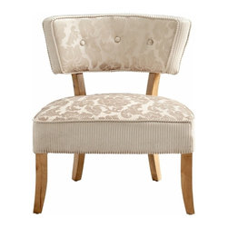 Tan and Ivory Chenille Modern Accent Chair - *Miss Sweets Chair