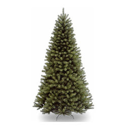 7 1/2 Ft. North Valley Spruce Hinged Christmas Tree - Measures 7.5 feet tall with 52 inch diameter. Tip count: 1346. All metal hinged construction (branches are attached to center pole sections). Comes in three sections for quick and easy set-up. Includes sturdy folding metal tree stand. Fire-resistant and non-allergenic. 5-year tree warranty. Packed in reusable storage carton. Assembly instructions included.
