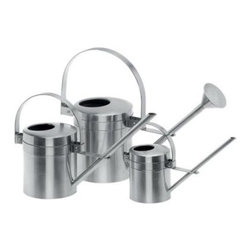 Stainless Steel Aguo Watering Can - A blend of durability and convenience the Aguo Watering Can is a must-have for anyone who loves gardening. Its stylish yet easy-to-use design allows you to effortlessly water your plants and flowers. This watering can is available in several sizes to best suit your needs. It features an arched easy-to-grasp handle and a long spout for reaching deep into the center of any plant.Small watering can measures 9.055 diam. x 13.39H inches; medium measures 11.81 diam. x 17.72H inches; large measures 14.96 diam. x 21.46H inches.About BlomusBased in Sundern Germany Blomus is an international designer of functional and decorative stainless steel products for the home interior and exterior. Their aim is to harmonize form and function to create special products for everyday life such as kitchen accessories wellness elements patio accents and decorative items. Their designs soften the cold and sterile edge of stainless steel by combining it with other materials. For Blomus design is not an end in itself but an important part of everyday life.