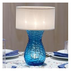 """Online Outlet - The pairing of deep sea blue and clean white lends a chic crispness to interiors. Glass lamp with flame-retardant polyester shade uses four tealights, sold separately. 12¼"""" h, 8¼""""w."""