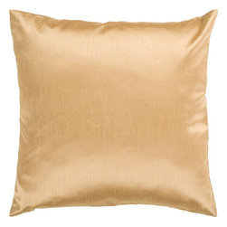 """Surya - Surya HH-038 Solid Decorative Pillow, 18"""" x 18"""", Poly Fiber Filler - Showcase a modern, dignified look from room to room with this immaculate pillow. The sparkling gold coloring maintains elements of understated simplicity while still building an ornate feel within your space. This pillow contains a zipper closure and provides a reliable and affordable solution to updating your home's decor. Genuinely faultless in aspects of construction and style, this piece embodies impeccable artistry while maintaining principles of affordability and durable design, making it the ideal accent for your decor."""