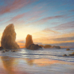 Cannon Beach - This one of a kind, original seascape oil painting was painted on a 12×16 acid-free, triple-primed cotton gallery-wrapped canvas using Holbein oil paints.  The edges of the canvas are painted, so the painting can be hung as is or it can be framed.  Would look great in the home or office!