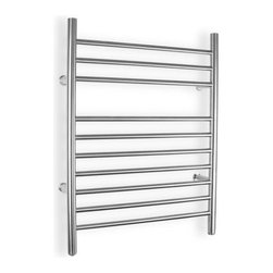 Infinity Hardwire Towel Warmer - Don't go to a day spa - live in a spa every day with the Infinity Hardwire Towel Warmer in your bathroom. An upscale design in 304 stainless steel that's perfect for modern bathrooms, this 120V, 150W warmer plugs into the wall and starts warming right away. With10 sleek bars that provide ample space for hanging towels or a bathrobe, the Infinity has a graceful profile with a beautiful, skillfully brushed stainless steel finish. You'll love stepping out of the shower and wrapping yourself in a warm dry towel to start your day. The plug-in model can be added to your bathroom at any time, with no remodeling necessary.