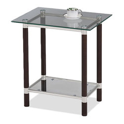 KD Furnishings - Coffee and Brushed Nickel Glass-Top End Table - A rich coffee finish on solid wood is highlighted with brushed nickel elements and tempered glass with this elegant table. Simple assembly puts this compact beauty at your service in minutes.