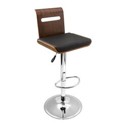 "LumiSource - Viera Barstool in Walnut - This Viera barstool is made out of beautiful walnut bent wood. It has a slat design through the backrest which adds artistic detail and a thick black padded leatherette cushion for extra comfort. Features a chrome base with footrest, 360 swivel, and adjustable height hydraulics. For comfort and sophistication, add a Viera Barstool to your home or bar! Features: -Barstool. -Material: Leather / Wood. -Walnut bent wood back frame. -Polished chrome base with footrest. -Slat design with backrest which adds artistic detail. -Black padded leatherette cushion for extra comfort. -Adjustable height hydraulics. Specifications: -Seat height: 26"" - 31"". -360 swivel. -Dimensions: 42"" H x 16.5""W x 15"" D."