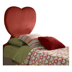 Powell - Powell Heart Twin Size Headboard X-930-891 - Fun and funky, the Red Heart Headboard is sure to be a sweet addition to your childs bedroom. The unique shaped piece fits a twin size bed and packs a large punch to any room.  A cool accent that your child is sure to love.  Fully upholstered and fully assembled.