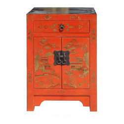 Golden Lotus - Chinese Orange Red Color Mountain & Villa View Night Stand / End Table - This unique night stand is made of solid elm wood and hand painted with mountain & villa view graphic on the front side.