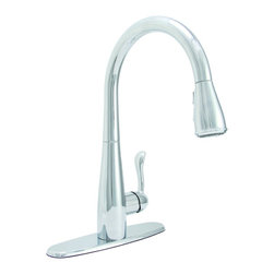 PREMIER - Premier 284452 Sanibel Lead-Free Single-Handle Pull-Down Kitchen Faucet, Chrome - For exceptional style and unparalleled performance, choose a striking Sanibel pull-down kitchen faucet to add convenience and charm to your kitchen. Its impressive height of nearly sixteen inches combined with its streamlined, high-arc design will make this faucet the focal point of any kitchen. Sanibel delivers distinctive design, extreme flexibility, and robust features. Switch between a steady flow to a powerful spray with the simple touch of a button. Sanibel pull-down faucets, with their generous retractable hose extension, make cleaning, rinsing, filling, and spraying even easier. The spout swivels 360 degrees to provide complete sink coverage. In addition to offering a sleek appearance, its high-arc spout is perfect for the demands of filling modern cookware. The pause button on the pull-down spray head enables you to stop the flow of water. Use the pause button while the spray head is outside of the sink or press pause to conserve water during clean-up or in between filling cookware. - Manufacturer: Premier