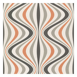 Brewster Home Fashions - Hendrix Orange Gravure Ogee Wallpaper Bolt - An a la mode pop of tangerine adds a vivid indulgence to this swirling mod  Wallpaper design. With jazz infused lines an iridescent finish and a fashionable beaded texture.
