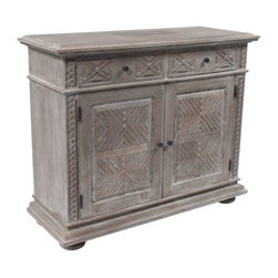 Weathered Carved Oak Chest - 2 Available - We see this grey weathered and absolutely gorgeous piece in a hallway or entry- but really, it could go anywhere you're in need of stashing space! With two drawers and two doors, this piece delivers some pretty darn useful storage.  There are two available - please contact us for more information.  Priced individually.