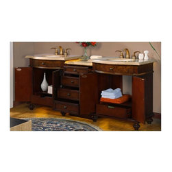 Silkroad Exclusive - 84 in. Double Sink Bathroom Vanity - Under mount ivory ceramic sinks. Travertine stone top. Faucet not included. Modern style. Six drawers and four door storage with shelves. Distressed cabinet design. Big cutout back for plumbing installation. Antique brass hardware. Pre drilled for three hole. 8 in. widespread faucet. No assembly required. CARB Ph2 certified panels. Made from natural stone and solid wood. Walnut finish. 84 in. W x 23 in. D x 36 in. H (415 lbs.)Capturing the timeless beauty of the natural stone, with each piece hand finished to bring out the unique richness of the natural resources of the earth. Its thick durable profile can last a life time with proper maintenance and care along with our low impact, energy efficient LED light to form an elegant relaxing feeling in your bathroom.