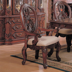 Coaster - Nottingham Collection Arm Chair in Cherry, Set of 2 - This collection of elaborate carvings and careful detail brings forth the kind of beauty reserved only for the master dinning room. Made of birch solids and veneers.