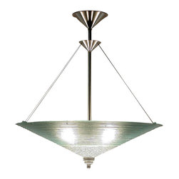 George C. Scott Studios - Clear Concentric Cone Chandelier - This elegant clear chandelier consists of hand cut glass rings fused together into a cone form. It hangs from a simple stainless steel and brass hardware. Lamp is designed to be direct wired, and uses a 60 watt recommended (100 watt max.) standard incandescent or compact fluorescent light bulb (not included).
