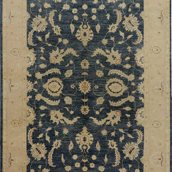 """ALRUG - Handmade Slate/Blue Oriental Oushak Rug 6' 2"""" x 8' 9"""" (ft) - This Afghan Oushak design rug is hand-knotted with Wool on Cotton."""