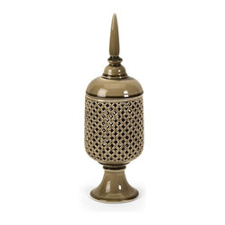 Transitional Small Cutwork Canister with Lid - *The Polard small cutwork canister is handcrafted which ensures uniqueness of each piece of ceramic art.