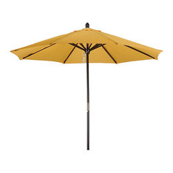 None - Premium 9-foot Round Yellow Wood Patio Umbrella - This large patio umbrella will make a great addition to your patio table. Suitable for replacing an outdated or worn-out umbrella, this yellow weatherproof umbrella, made from polyester and wood, will stand up to the elements with style.