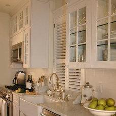 kitchens - white glass-front kitchen cabinets subway tiles backsplash white carr