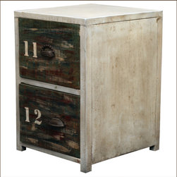 Industrial Reclaimed Wood & Iron End Table 2-Drawer Night Stand - We combined the industrial form with rustic distressed wood to createour relaxed 2 Drawer Night Stand. This mini dresser has a white ironframe and stands off the floor with short legs. The drawer fronts have anatural authentic aged look because they are built with old wood.