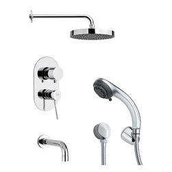 Remer - Contemporary Sleek Chrome Shower System - Multi function tub and shower faucet.
