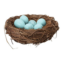 Lazy Susan - Lazy Susan 857098 European Starling Eggs in Nest - Make every day spring in your home with this whimsical nest of colored eggs. Each one is hand finished to bring radiance and shine to the interwoven nest of vines. Just watch out for the Easter Bunny!